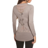 NOBLE FINE-KNITTED 2-IN-1 BLOUSE-SWEATER WITH CHIFFON CAPPUCCINO UK 10/12 (S/M)