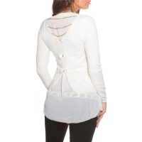 NOBLE FINE-KNITTED 2-IN-1 BLOUSE-SWEATER WITH CHIFFON WHITE