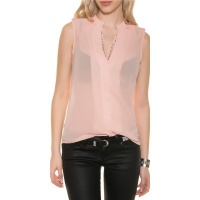 ELEGANT SLEEVELESS CHIFFON-BLOUSE WITH GLITTER APRICOT