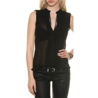 ELEGANT SLEEVELESS CHIFFON-BLOUSE WITH GLITTER BLACK