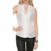 ELEGANT SLEEVELESS CHIFFON-BLOUSE WITH GLITTER WHITE