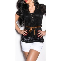ELEGANT SHORT-SLEEVED 2IN1 LACE SHIRT INCL. BELT BLACK