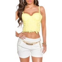 SEXY BUSTIER-TOP WITH LACE AND UNDERWIRE CUPS YELLOW