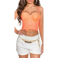 SEXY BUSTIER-TOP WITH LACE AND UNDERWIRE CUPS NEON-CORAL