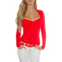 ELEGANT LONG-SLEEVED BOLERO-SHIRT WITH LACE AT THE BACK RED