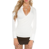 ELEGANTES DAMEN POLOKRAGEN SHIRT IN WICKEL-OPTIK WEISS