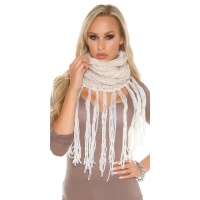 TRENDY KNITTED TUBE SCARF WITH GLITTER AND FRINGES CREAM