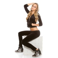 TRENDY NIKKI LEISURE SUIT JOGGING SUIT WITH HOOD BLACK