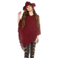 ELEGANT KNITTED OVERSIZED PONCHO WITH FRINGES CAPE WRAP...