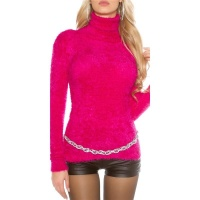 CUDDLY SOFT LADIES TURTLENECK SWEATER JUMPER FANCY YARN FUCHSIA Onesize (UK 8,10,12)