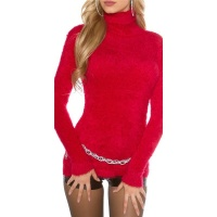 CUDDLY SOFT LADIES TURTLENECK SWEATER JUMPER FANCY YARN RED
