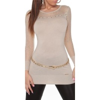 NOBLE FINE-KNITTED LADIES LONG SWEATER WITH LACE BEIGE