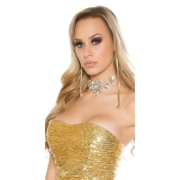 GLAMOUR STATEMENT NECKBAND CHOKER WITH RHINESTONES GOLD