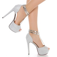 SEXY GLITTER PEEP TOE PLATFORM SANDALS HIGH HEELS SHOES SILVER
