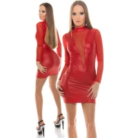 SEXY CLUB MINIDRESS WITH MESH WET LOOK GOGO RED Onesize (UK 8,10,12)