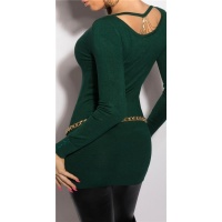 NOBLE FINE-KNITTED LADIES LONG SWEATER WITH CHAINS GREEN