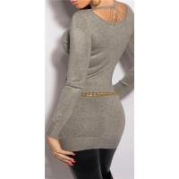 NOBLE FINE-KNITTED LADIES LONG SWEATER WITH CHAINS GREY