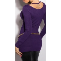 NOBLE FINE-KNITTED LADIES LONG SWEATER WITH CHAINS PURPLE