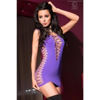 SEXY STRETCH CLUB MINIDRESS STRIPPER CLUBWEAR PURPLE