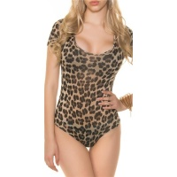 SEXY SHORT-SLEEVED BODY SHIRT IN LEOPARD-LOOK BEIGE