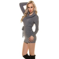 ELEGANT KNITTED MINIDRESS WITH AMPLE TURN-DOWN COLLAR GREY