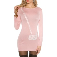 FINE-KNITTED MINIDRESS WITH HANDBAG PATTERN ANTIQUE PINK