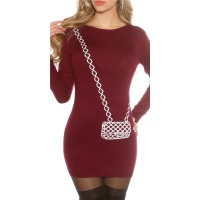 FINE-KNITTED MINIDRESS WITH HANDBAG PATTERN WINE-RED