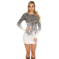 ELEGANT FINE-KNITTED MINIDRESS WITH PREDATOR THEME...