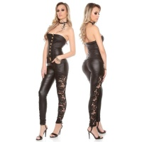 SKINNY STRAPLESS LEATHER-LOOK OVERALL JUMPSUIT WITH LACE...