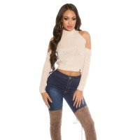 SEXY KNITTED LADIES CROP SWEATER COLD SHOULDER BEIGE