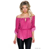 ELEGANT OFF-THE-SHOULDER BLOUSE IN CARMEN STYLE WITH BELT DARK FUCHSIA Onesize (UK 8,10,12)