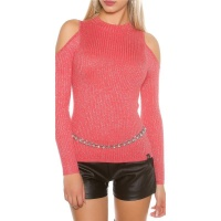 NOBLE RIB-KNITTED COLD SHOULDER SWEATER WITH GLITTER CORAL
