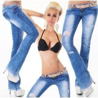 SEXY DESTROYED BOOTCUT JEANS IN USED-LOOK INKL....