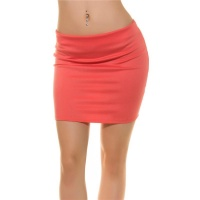SEXY BASIC MINISKIRT MADE OF STRETCH FABRIC CORAL