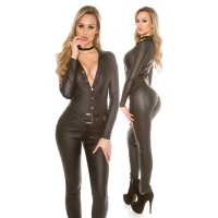 SKINNY LONG-SLEEVED OVERALL JUMPSUIT IN LEATHER-LOOK BLACK