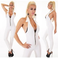 SEXY SKINNY HALTERNECK OVERALL JUMPSUIT WITH ZIPPER WHITE