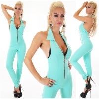 SEXY SKINNY HALTERNECK OVERALL JUMPSUIT WITH ZIPPER MINT...