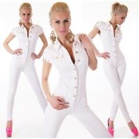 SLIM-FIT JEANS OVERALL JUMPSUIT WITH GOLDEN BUTTONS WHITE