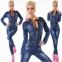 SEXY SLIM-FIT USED-LOOK JEANS OVERALL JUMPSUIT DARK BLUE