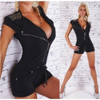 SEXY SHORT LADIES HOT PANTS OVERALL PLAYSUIT WITH RIVETS...