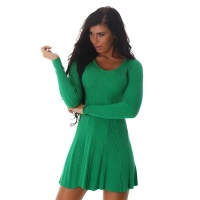 SEXY SHORT RIB-KNIT MINIDRESS IN A-LINE SHAPE GREEN