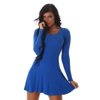 SEXY SHORT RIB-KNIT MINIDRESS IN A-LINE SHAPE BLUE
