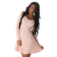 SEXY SHORT RIB-KNIT MINIDRESS IN A-LINE SHAPE ANTIQUE PINK