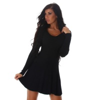SEXY SHORT RIB-KNIT MINIDRESS IN A-LINE SHAPE BLACK