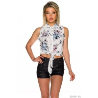 SLEEVELESS BELLY WRAP BLOUSE TO TIE WITH FLOWERS WHITE