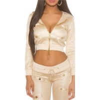 TRENDY QUILTED LADIES JACKET WITH HOOD IN GLOSSY LOOK BEIGE