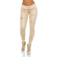 TRENDY QUILTED LADIES TRACKIES JOGGERS IN GLOSSY LOOK BEIGE