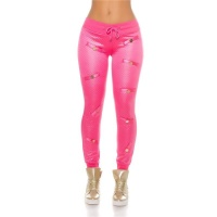 GESTEPPTE DAMEN SPORTHOSE JOGGINGHOSE IN GLANZ-OPTIK PINK