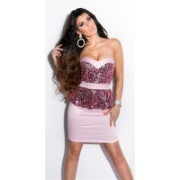 GLAMOUR SATIN EVENING DRESS WITH SEQUINS AND PEPLUM PINK UK 8 (XS)