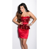 GLAMOUR SATIN EVENING DRESS WITH SEQUINS AND PEPLUM RED